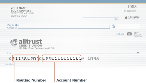 check showing routing and account numbers in bottom left